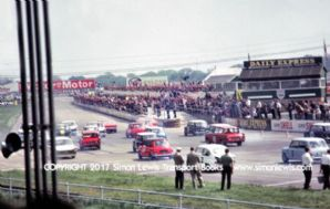 British Saloon Car Race start photoSilverstone May 15 1965 . Mini, Abarth, Anglia, Cortina,Mustang etc.